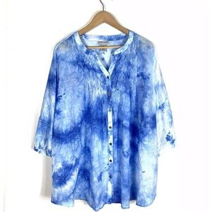 Catherines Top Blouse Button Down Tie Dye 1X Blue